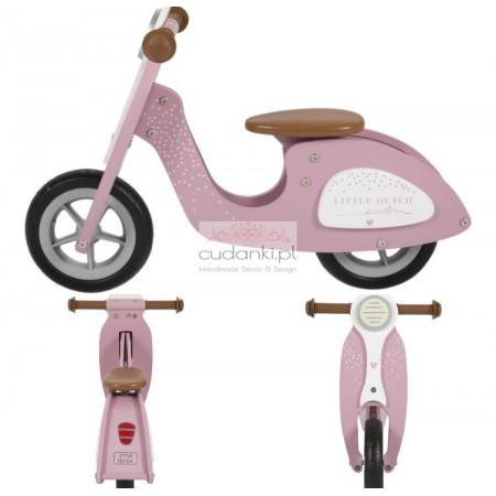 Little Dutch drewniany rowerek biegowy różowy Skuter