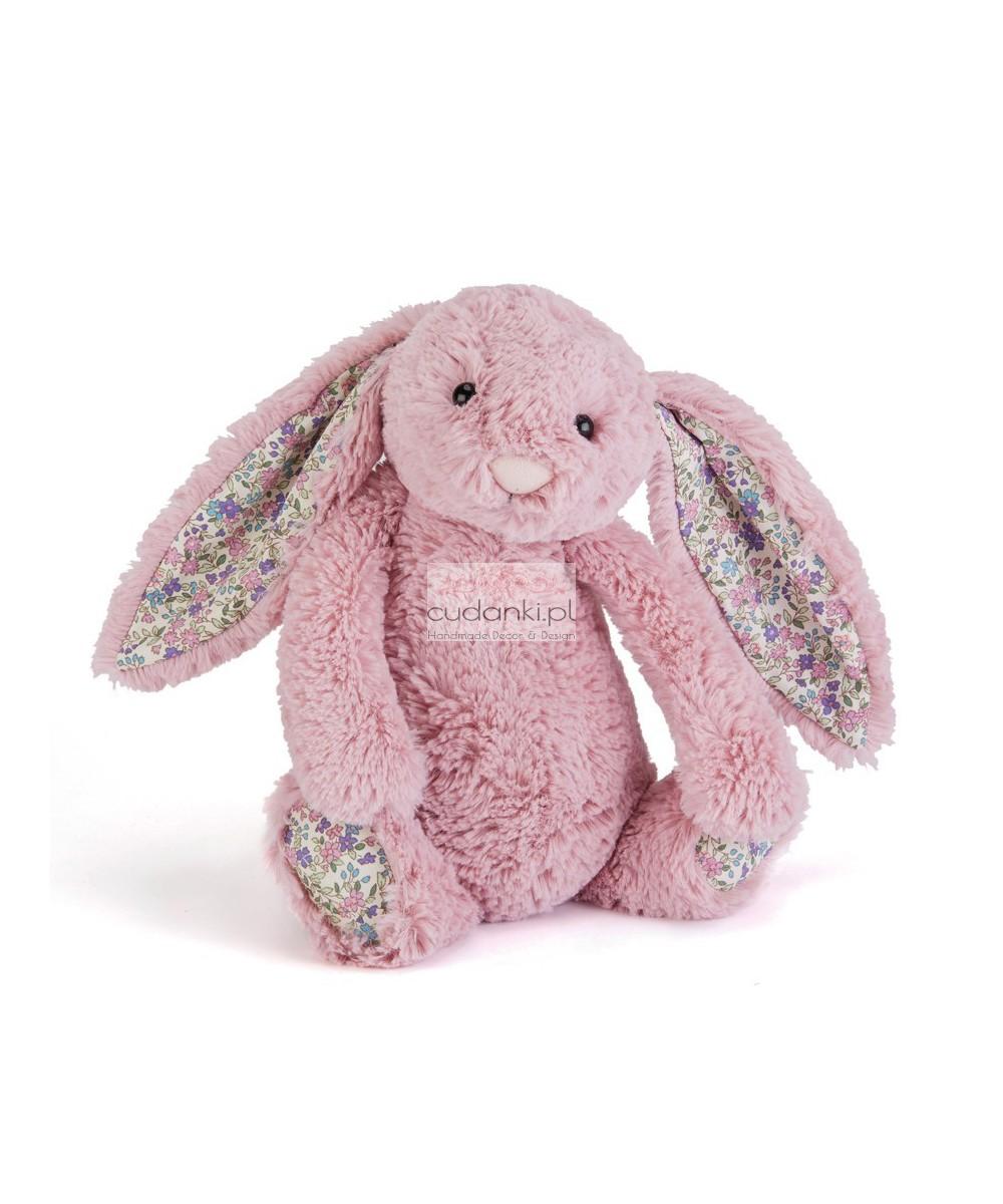 Różowy królik Bashful króliczek Bloosom uszy w kwiatki 31cm