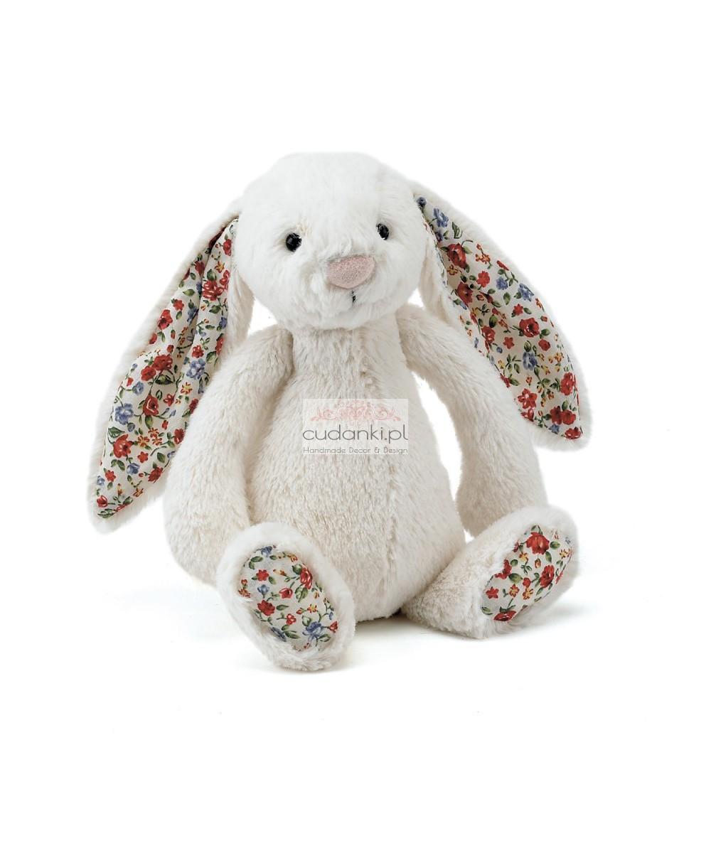 Kremowy królik Bashful króliczek Bloosom uszy w kwiatki 36 cm