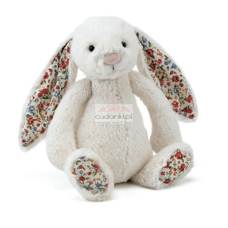 Kremowy królik króliczek uszy w kwiatki 31cm