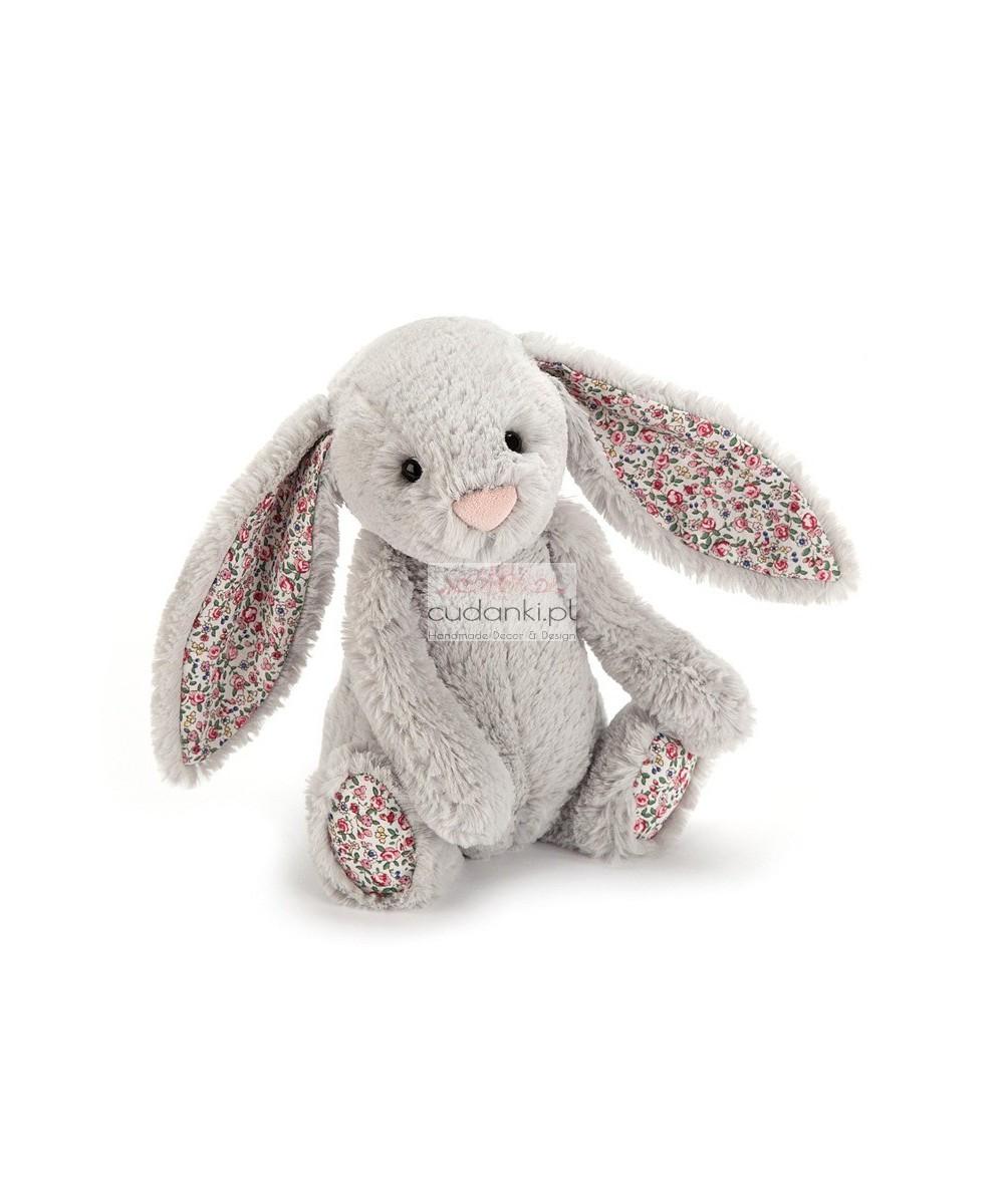 Silver szary królik Bashful króliczek Bloosom uszy w kwiatki 36 cm