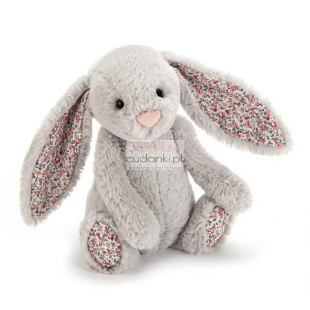 Silver szary królik Bashful króliczek Bloosom uszy w kwiatki 31 cm