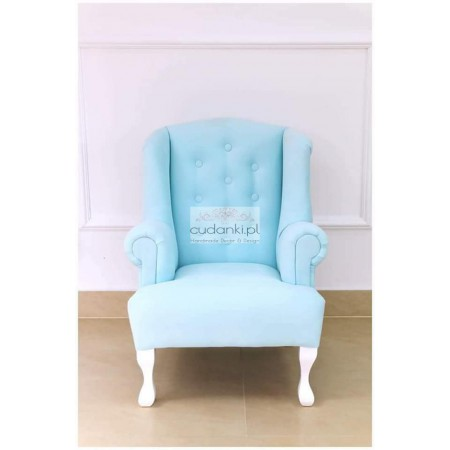 Fotel dla dzieci pluszowy CHARLOTTE pikowany fotele uszatki