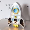 Rakieta miętowa Drewniana Lampka LED dla dzieci
