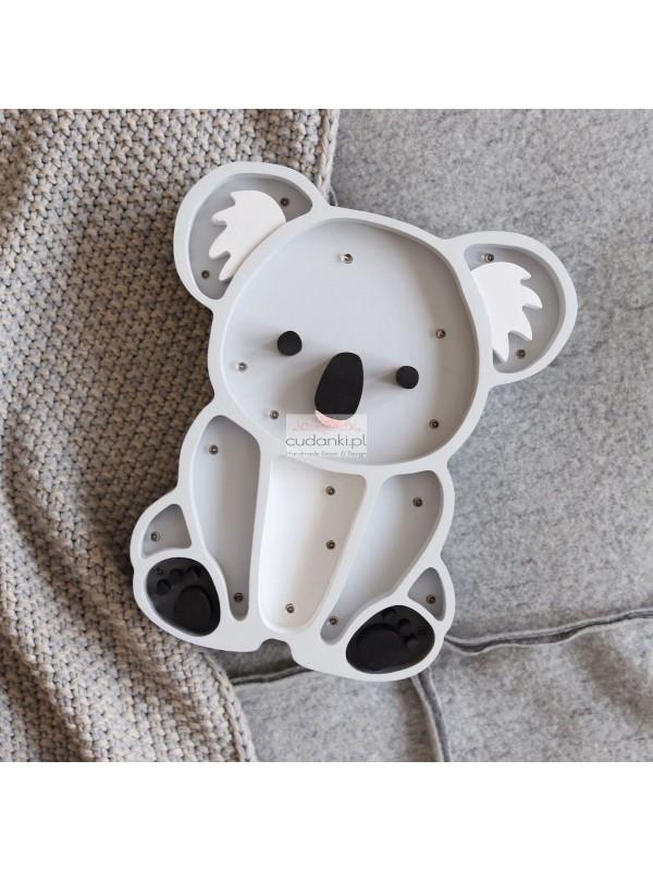 Lampka miś koala z drewna