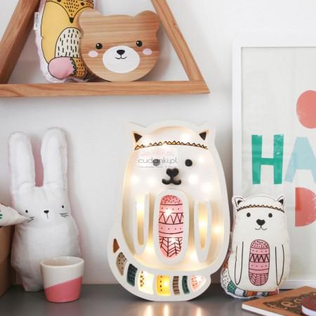 Kotek lampka nocna z drewna dla dzieci dwa kolory