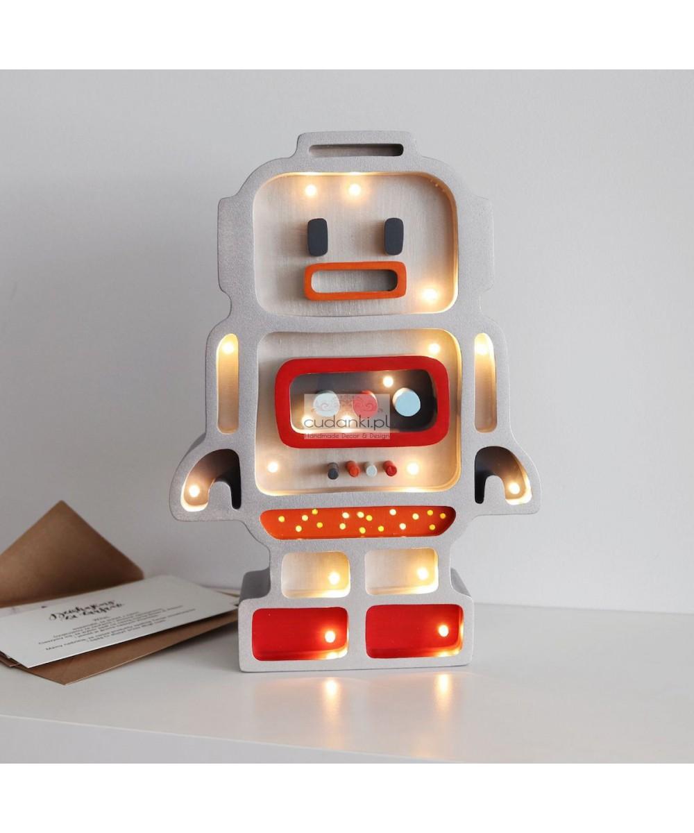 Robot drewniana lampka nocna do pokoju dziecięcego