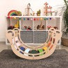Drewniany wielokolorowy bujak sensoryczny dla dzieci Wooden Rocker z opcją zjeżdżalni