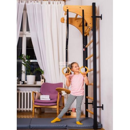Nowoczesna drabinka sportowa MAGIC drewniano - metalowa drabinka gimnastyczna dla dzieci z regulowaną wysokością