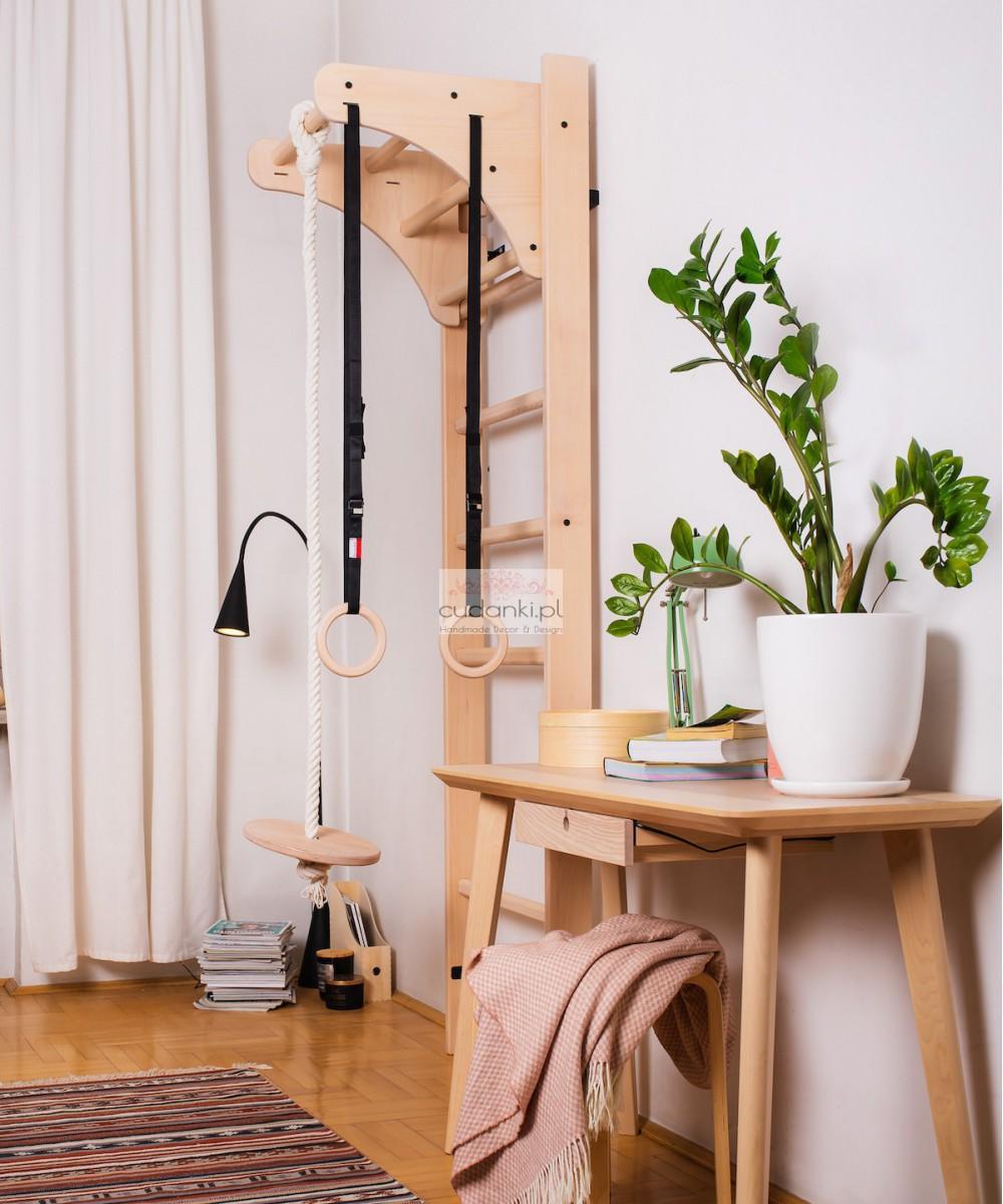 Drewniana wielofunkcyjna drabinka gimnastyczna dla dzieci z regulowaną wysokością KIDS PRESTIGE