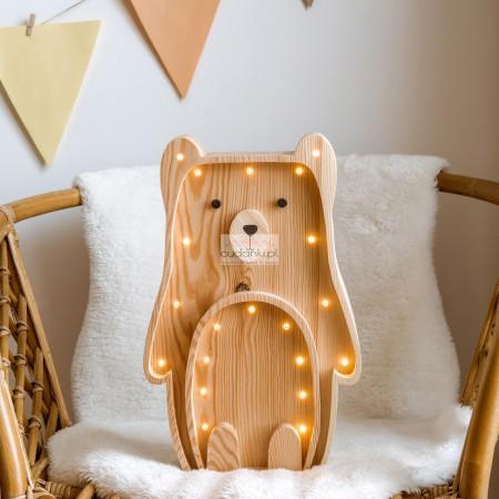 Drewniana Lampka Miś – widoczne drewno