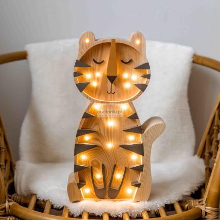 Drewniana Lampka Tygrys – widoczne drewno