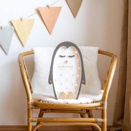 DREWNIANA LAMPKA PINGWIN