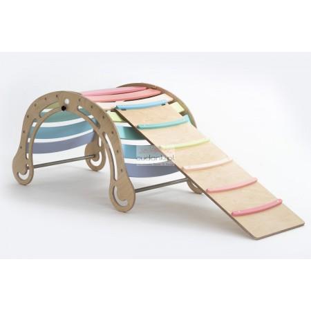 Drewniany pastelowy bujak sensoryczny dla dzieci Wooden Rocker z opcją zjeżdżalni