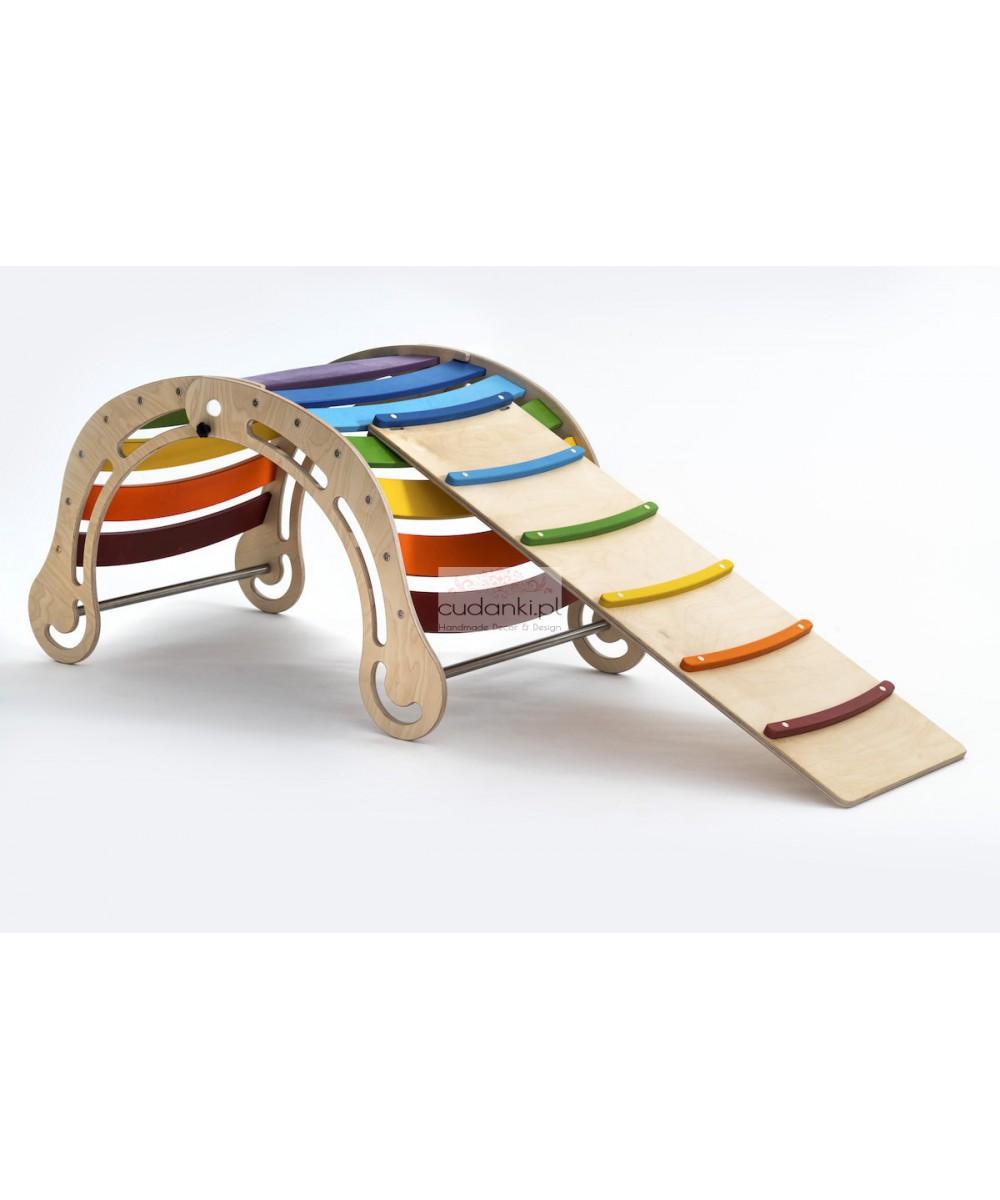 SKŁADANY Drewniany bujak sensoryczny dla dzieci colorful Wooden Rocker z opcją zjeżdżalni