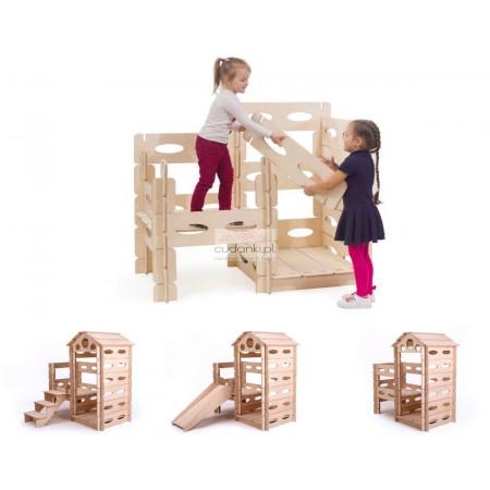 Build & Play ogromny domek do budowania klocki z drewna - w stylu skandynawskim