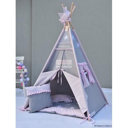 BAJECZNE CHWILE ZESTAW namiot TIPI TEEPEE Z KOLEKCJI PREMIUM line z matą i stabilizatorami podstawy
