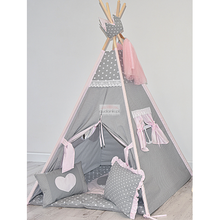 POWDERED STAR Kids Play Tent Mat Pillow Crown Zelt