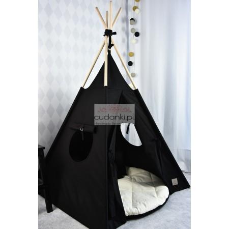 Zestaw namiot TIPI dla dziecka NAMIOTY tipi MINIMALIZM TEEPEE BLACK in the HOUSE kolekcja V-Line PREMIUM gruba mata
