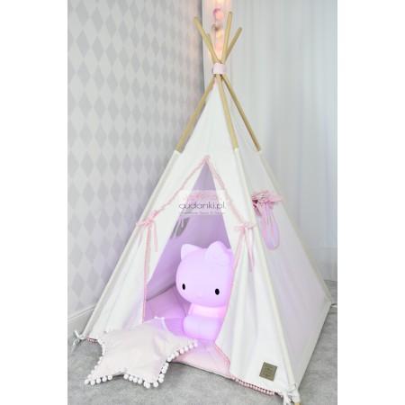 Zestaw namiot dla dziecka tipi z koronką TEEPEE KRAINA ŚNIEGU biało - różowy kolekcja V-Line PREMIUM gruba mata