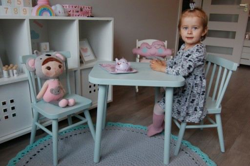 Krzesełko drewniane dziecięce stolik z drewna