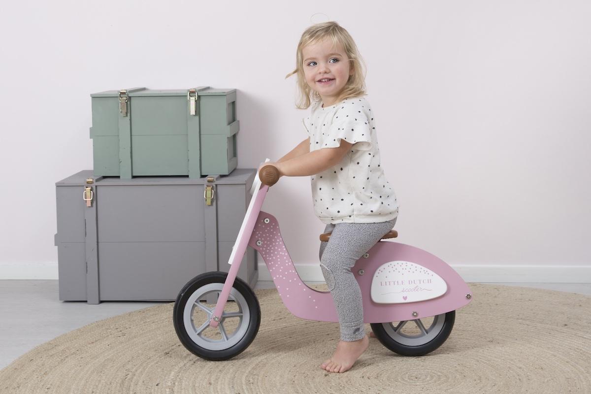 Little Dutch skuter drewniany jeździk rowerek biegowy różowy