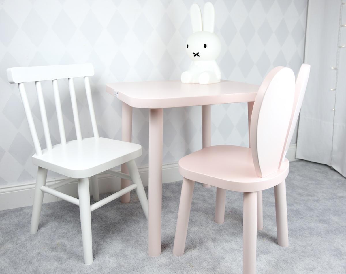 prosty drewniany stolik róż pink mięta dla dzieci