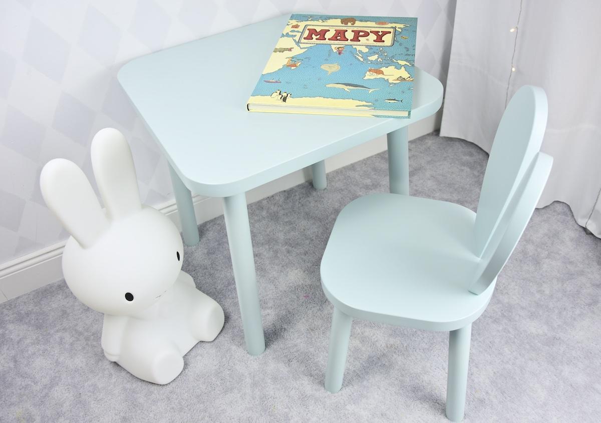 prosty drewniany stolik mięta dla dzieci