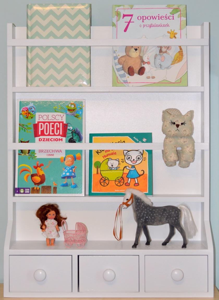 Regal na książki półka z szufladkami