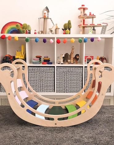 ZABAWKI SENSORYCZNE Bujak drewniany dla dzieci rocker Montessori